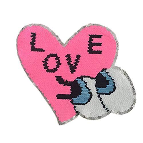 shunbang yuan Mujeres Lados Dobles de Ropa Reversibles Goma del Pegado Ojos del corazón Amor Sequin Applique niños Lindos Parches Traje