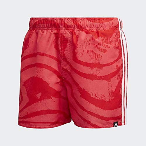 adidas 3 Streifen AOP Very Length Schwimmshorts für Herren L Rot (Active Red/Shock Red)