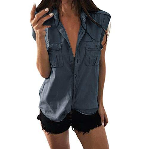 Petalum Damen Jeanshemd Weste mit Knöpfen Loose Casual Ärmellos Shirt Basic Button Down Hemd Bluse Fitness Tunika Blau Tops Sommer (EU 50=Etikette5XL, Dunkelblau)