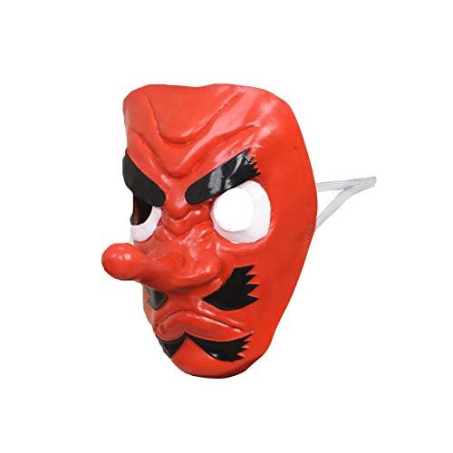 Japanische Samurai Tengu Maske, Kopfbedeckung Long Nose Cosplay Mask für Weihnachtsfeier Cosplay Red