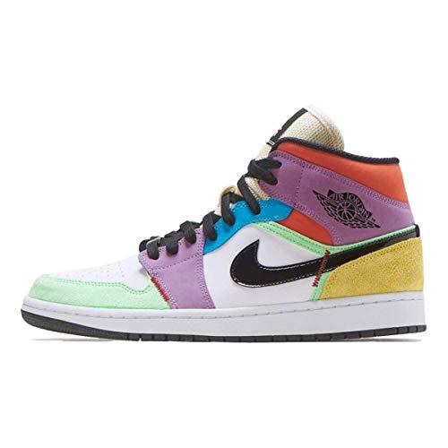 Jordan Nike CW1140-100 Scarpe da ginnastica Air 1 da donna, medie SE Light Club, (bianco/nero/arancione/viola/verde.), 37.5 EU