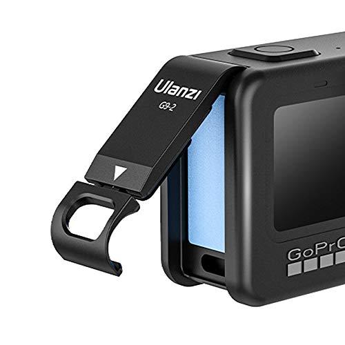 Linghuang Akkudeckel aus Aluminium-Legierung für GoPro Hero 9, schwarz, seitlicher Deckel, Adapter mit Ladeanschluss, Zubehör für Action-Kamera