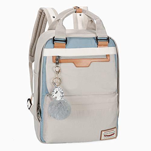 Backpack Purse for Women Waterproof Girls Bookbags Elementary School College Laptop Bag (Large, Grey)