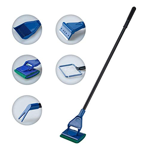 Lysport Ensemble de nettoyage de réservoir de poisson d'aquarium complet 5 en 1 Ensemble de nettoyage de poisson Fish Tank + Rake + Scraper + Fork + Sponge Brush Glass Aquarium Cleaner Tool Kit
