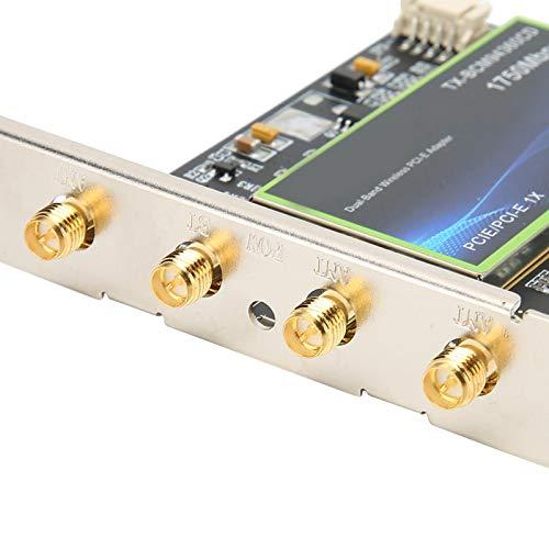 ciciglow Tarjeta de Red inalámbrica, Compatible con Doble frecuencia de 2,4 y 5 GHz, Tarjeta de Interfaz de Red PCIe, Accesorios de computadora de 1300 Mbps