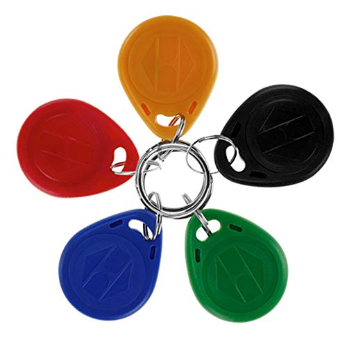 LIBO Tarjeta clave inteligente ID 125KHz Tarjeta de clave de Control de Acceso RFID Proximidad EM4100 TK4100 Keyfobs Llaveros NFC Token (10, Multicolor)