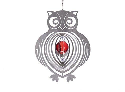 Illumino Edelstahl-Windspiel Eule mit rubinroter 35mm Glaskugel