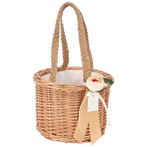 Cabilock Weidenkorb Geschenkkörbe Leere Ovale Weide Gewebte Picknickkorb Ostern Süßigkeiten Korb Lagerung Weinkorb mit Griff für Hochzeit 17X15cm (Khaki)