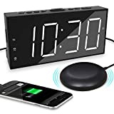 Alarm Clock with Bed Shaker for Bedroom, Loud Alarm Clock for Heavy Sleepers & Deaf, Dual Alarm with Snooze, USB Charger, 7'' Large Display, DST 12/24H, Battery Backup,Dimmer, Easy to Set