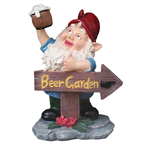 NNGT Garden Signpost Santa Claus Statue,Beer Garden Gnome Sign Full Color Polyresin Creative Doll Model Statue for Outdoor Terraces Yard Porches Christmas Ornament