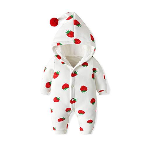 Bebé Mamelucos con Capucha Outfits Abrigo Algodón Mono Manga Larga Niñas Ropa Outwear Pijamas 12-18 Meses Patrón de Fresa,Blanco