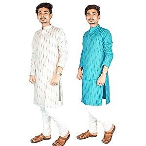 Riyashree Cotton Men's Straight Long Kurta for Men Latest Traditional Ikat Pattern Design Combo (Pack of 2) 001 006