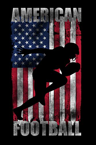 American Football: USA Flag Distressed Effect Football Player Silhouette Wide Receiver Running Back Notebook Gift Idea