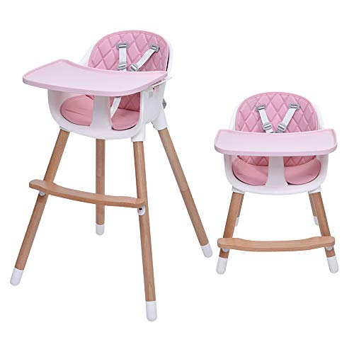 Wooden High Chair for Baby & Toddlers,3-in-1 High Chair Booster Chair Grows w/Child Adjustable Footrest Legs Removable Tray Armrest Modern Wood Design