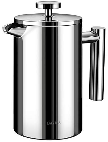 BAYKA French Press Coffee Maker Stainless Steel 21oz DoubleWall Metal Insulated Coffee Tea Makers with 4 Level Filtration System RustFree Dishwasher Safe