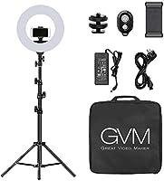 GVM Photo Studio Led-ringlamp met lichtstatief, 18 inch, 3200-5600K CRI 96+, dimbaar, tweekleurige SMD-ledverlichting,...