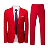 Abiti da Uomo 2 Pezzi Abito da Sposa Slim Fit Giacca Bottone Formale Giacche Pantaloni (XL,1rosso)