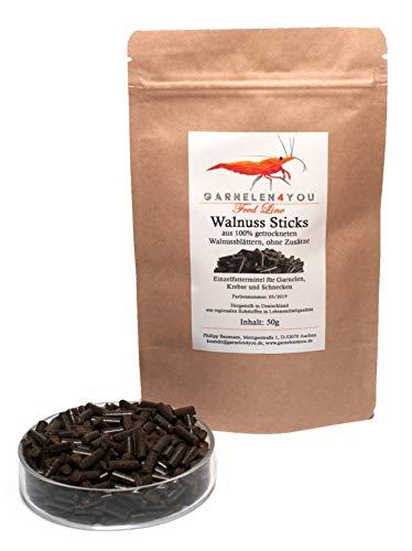 GARNELEN4YOU® Walnuss Sticks, 50 g hochwertige Futter Pellets zur entspannten Fütterung von Aquarienbewohnern wie Garnelen, Krebse und Schnecken, 1x 50g