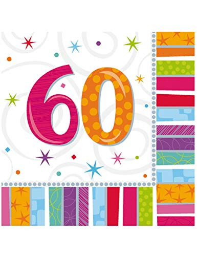 amscan Servietten 60. Geburtstag Stripes 16 St.