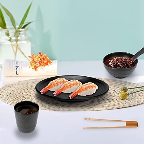 InLoveArts Geschirr-Set BBQ Grill,Hot Pot und Fondue 5-teilige Besteckschale*1, Suppenlöffel*1, Teller*1, Tasse*1, Bambusklammer*1