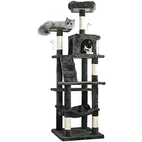 MWPO 63.8 inches Multi-Level Cat Tree for Large Cats with Sisal-Covered...