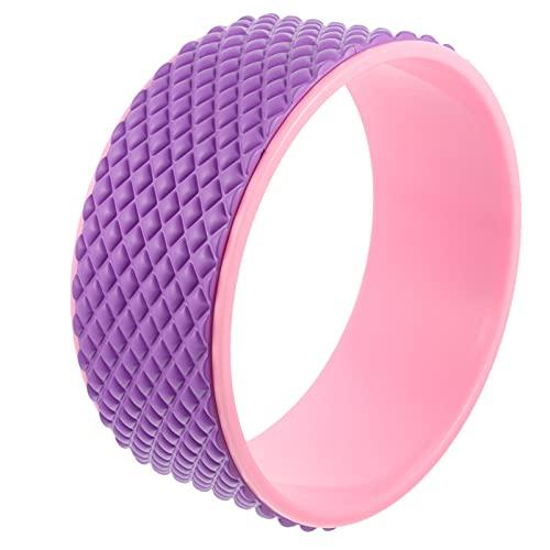 Abaodam Rueda de yoga Ensanchador de rodillo para la espalda de la almohadilla externa corrección de postura, yoga pose, accesorio de equilibrio para el dolor de espalda, estiramiento rosa púrpura