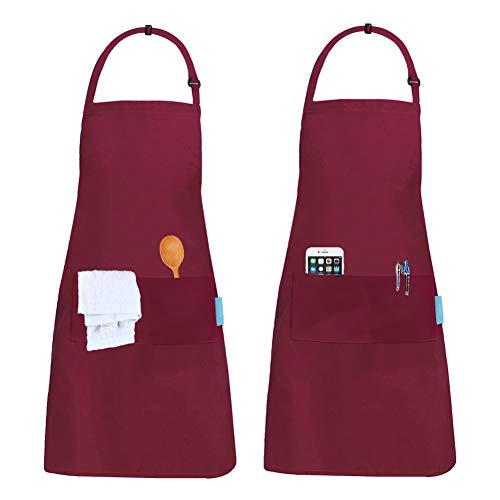 esafio 2 Stück Schürze Kochschürze Küchenschürze Latzschürze Verstellbarem Nackenband, Rot