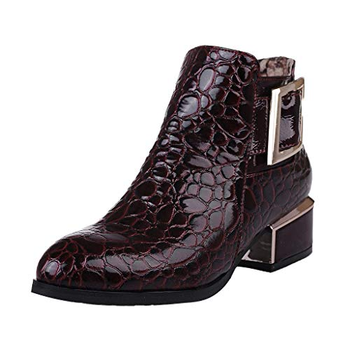 Stiefeletten Damen Blockabsatz Spitzschuhe Krokodil Muster Kunstleder Stiefel mit Reißverschluss Gürtelschnalle Einfarbiges Schuhe Damenschuhe (39.5 EU, Bordeaux)