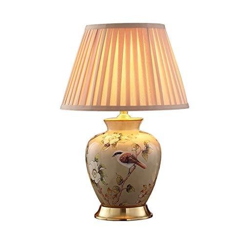 Binnenverlichting-CSQ Retro tafellamp, Warm Romantisch tafellamp geplooide lampenkap geverfd en afgedrukt Keramiek Schemerlamp Study Office Verlichting verlicht (Size : 36 * 60cm)