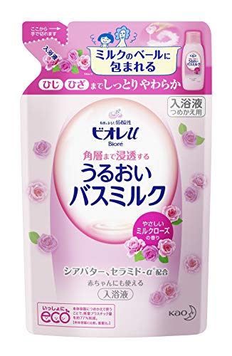ビオレu 角層まで浸透する うるおいバスミルク やさしいミルクローズの香り 480ml 詰め替え用