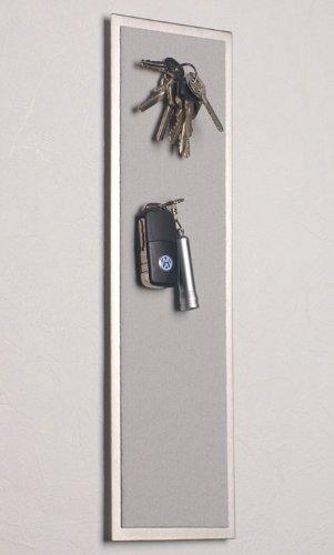 Magnetisches Schlüsselbrett aus Edelstahl (42 x 12 cm), mit Filz in hell-grau
