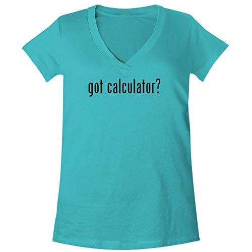 The Town Butler got Calculator? - A Soft & Comfortable Women's V-Neck T-Shirt, Aqua, Small