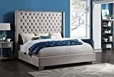 6 FT Tall Upholstered Tufted Headboard with Diamonds (Queen, King) (Grey, King)