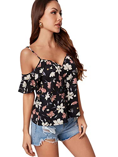 SheIn Women's Cold Shoulder Ditsy Floral Short Sleeve Ruffles Blouse Tops Black L