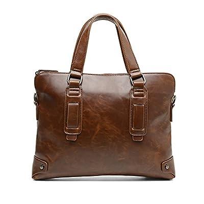 Foino Sac bandoulière Homme Sac à Main Cuir Sac Porté épaule Sac Besace Sacoche de Cours Sac Voyage Vintage Sport Bag Laptop Mallette