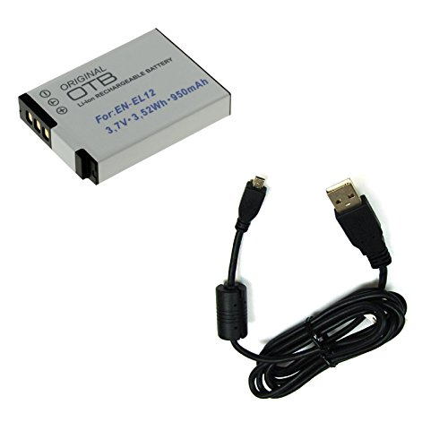 BG-akku24 batteria e cavo di ricarica, cavo dati, cavo USB per Nikon Coolpix S6200, S6300, S6500, S6600, S8000, S8200, S9200, S9300, S9400, S9500