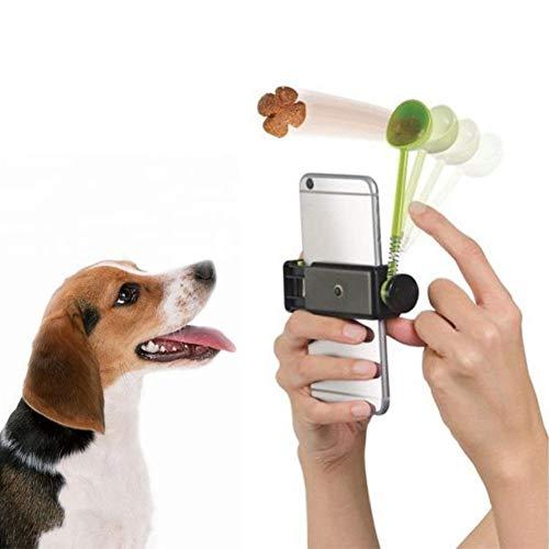 Adarl Pet Treat Launcher Dog Cat Selfie Stick, Grabs Pet's Attention for Photo, Selfie Training Toy fit Most Phones