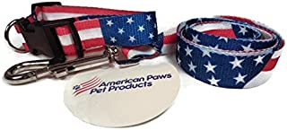 Dog Collar & Leash Set American Flag Design for Small & Medium Pets. Fits most Male & Female dogs GUARANTEED. Patriotic Designer Nylon Collars with Stars & Stripes are GREAT for Independence Day Event