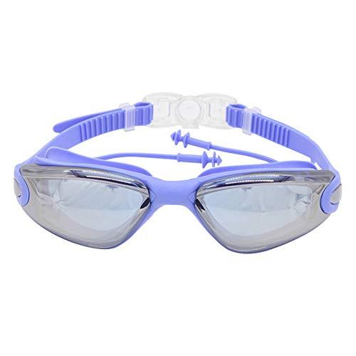 MHP zwembril, grote zwembril met oordopjes, anti-condens en heldere lens, voor volwassenen en vrouwen, voor binnen en buiten blauw 2