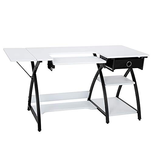 Amazing Deal TUFFIOM 57-Inch Sewing Craft Table, Specialized Sewing Machine Shelf, Enlarged Cutting ...