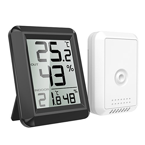 AMIR Hygrometer Thermometer, Innen Außen Thermometer Hygrometer Digital Innen Außentemperatur und Luftfeuchtigkeit Monitor mit Funk-Außensensor und Großem LCD Display, ℃/℉ Schalter, Schwarz