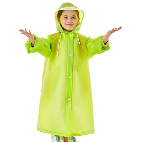 KESYOO 1 St Dikker Regen Poncho Jas Kinderen Regenjas Elastische Mouw Regenkleding Met Schooltas Hoes en Capuchon Voor Kinderen Buiten-Groen