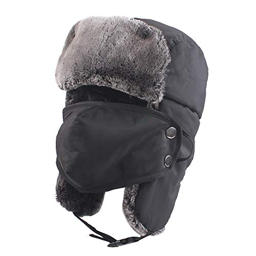 Winter Boy Trapper Trooper Hat Outdoor Warm Girls Ski Cap Windproof Mask Ear Flaps Hats for Kids (Black)