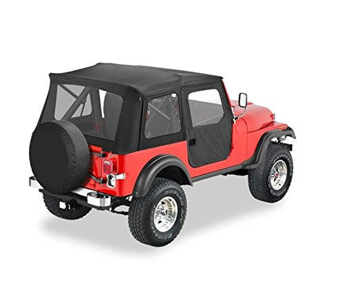 Price comparison product image Bestop 51597-15 Black Denim Supertop Classic Replacement Soft Top with Clear Windows- 2-pc. Full doors- 1976-1983 Jeep CJ5