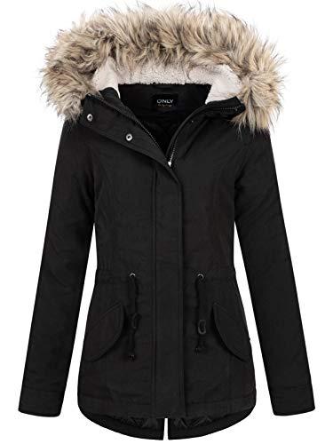 ONLY Damen Winterjacke Onlnew Lucca mit Fell-Kapuze 15205715 Black M