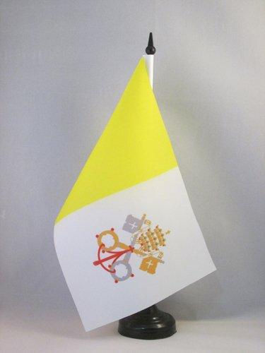 AZ FLAG Bandera de Mesa de la Ciudad del Vaticano 21x14cm - BANDERINA de DESPACHO VATICANA 14 x 21 cm