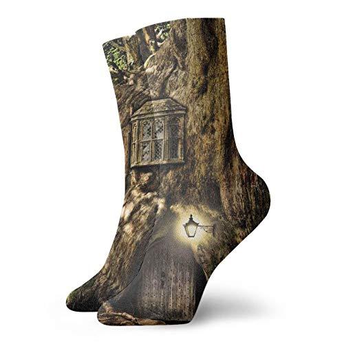 Calcetines de compresión para hombre y mujer, acolchados, atléticos, Casa de cuento de hadas en tronco de árbol en el bosque con farolillos y diseño temático de historias folclóricos, Talla única