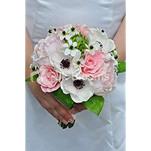 Silk Blooms Ltd Artificial Pale Pink Peony and Anemone Bridesmaid Bouquet w/Ornithogalum Flowers