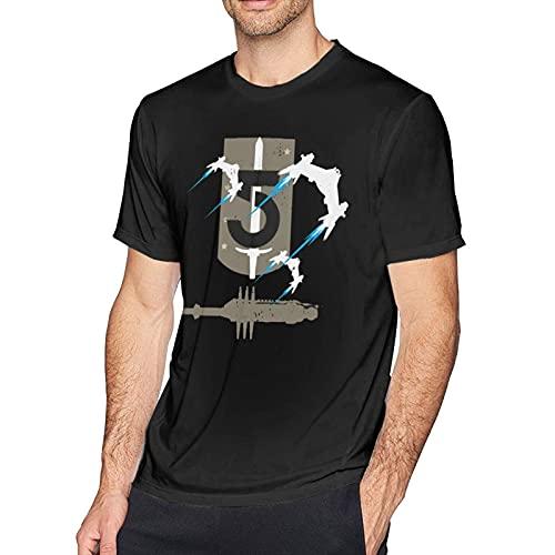 XCNGG ChaKnel Camiseta de Manga Corta para Hombre Babylon 5 Camiseta de Cuello Redondo con Estampado de Moda Transpirable Negro