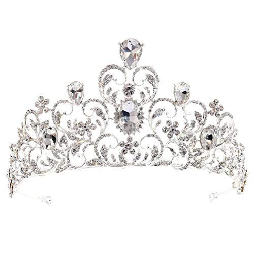 Lurrose Couronne de Mariée Diadèmes Gemme Cristal Strass Bijoux Cerceau de Cheveux Coiffure Coiffure pour La Mariée Femmes de Mariée Banquet Fête de Mariage
